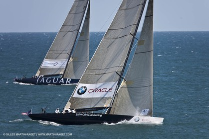 05 08 2010 - Cowes (UK, IOW) - The 1851 Cup -  BMW ORACLE Racing -  - Round The Island Race - Passing Ste Catherine Lighthouse.