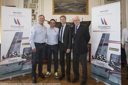 22 02 2016, Paris (FRA), 35th America's Cup, Groupama Team France announces Norauto as official partner at Yacht Club de France, Thibault Derville (Norauto), Franck Cammas, Sylvain Burel (Dir. Com. Groupama), Yves Lagagne (Pdt YCF)