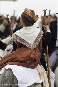 Arlésiennes in costume - Gardians (cow-boys) celebration - Arles