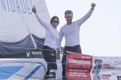 01 04 2015, Barcelona (ESP), Barcelona World Race 2014-15, Gerard Marin and Anna Corbella (GAES Centros Auditivos) arrival in 3rd position.