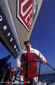 America's Cup, San Diego 1995, Chris Dickson onboard Tag Heuer
