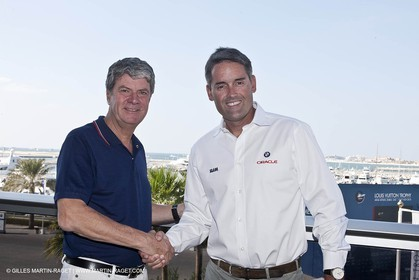 25 07 2010 - Dubai (UAE)  34th America's Cup- Louis Vuitton Partnership Announcement- Russell coutts, Yves Carcelle