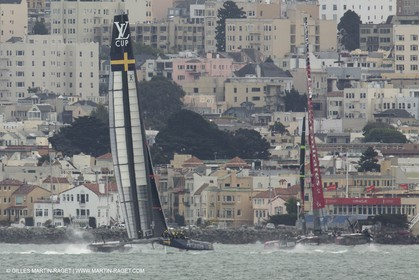 03 08 2013 - San Francisco (USA,CA) - 34th America's Cup - Training Day prior Louis Vuitton Semi Finals - Artemis and Emirates Team New Zealand