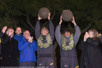 25 03 2015, Barcelona (ESP), Barcelona World Race 2014-15, Cheminées Poujoulat (Bernard Stamm Jean Le Cam) arrival in 1st place.