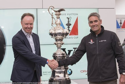 22 07 2015, Portsmouth (GBR), 35th America's Cup, Louis Vuitton America's Cup World Series Portsmouth 2015, Officail training, BMW Press Conference with James Spithill, Dr Ian Robertson (Head of Sales & Marketing BMW Group, Russell Coutts