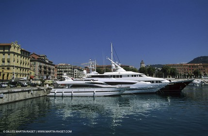 Cannes - Yachts in the Old Port.
