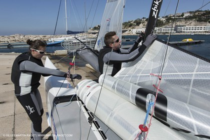 26 03 2013 - Marseille (FRA,13) - Ingrid Petitjean et Olivier backes training on their Nacra 17 in breezy conditions