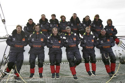 Orange II  - 2005 Jules Verne Trophy - Training in Bay of Biscay - Whole crew-