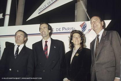 1991, America's cup, présentation de Ville de Paris, Eric Tabarly, Marc Pajot, Florence Arthaud, Jacques Chirac