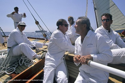 May 1996 - Cannes (FRA, 06) Albert of Monaco manoeuvering onboard Tuiga with Eric Tabarly Steering