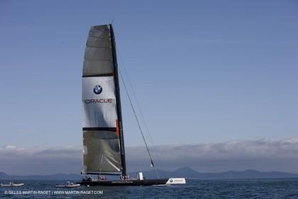 02 09 2008 - Anacortes (WA, USA) - America's Cup - BMW ORACLE Racing - 90 ft trimaran first sea trials