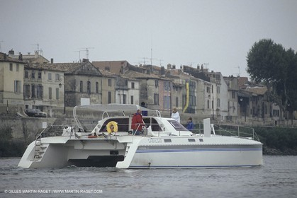 France, Provence, Camargue, Cruising on the Rhone river
