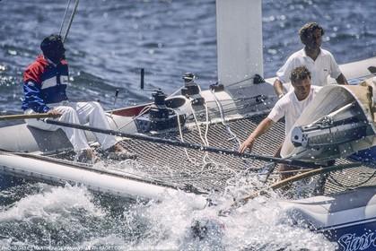 Sailing, Yacht Racing, America's Cup XXVII, San Diego (USA,CA) 1988, Stars & Stripes Vs New Zealand, Dennis Conner
