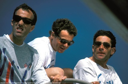 America's Cup, Fremantle 1987, Marc Pajot, Bertrand Pacé, Marc Bouet onboard French Kiss