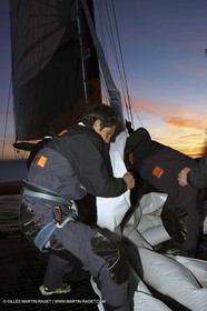 Lorient -Orange II - First sea trials - onboard - at night