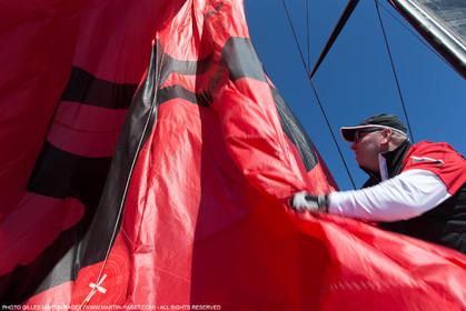 05 05 2016, Porquerolles (FRA,83), Semaine de Porquerolles, célébration des 30 and de lla victoire de l'Esprit d'Equipe dans la Whitbread, l'équipage se retrouve à bord du maxi SFS skippé par Lionel Péan