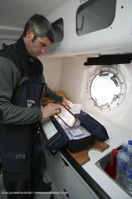 Orange II  - 2005 Jules Verne Trophy - Training in Bay of Biscay -Sébastien Audigane + medical kit-