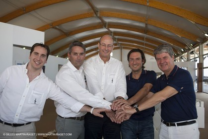 25 07 2010 - Dubai (UAE)  34th America's Cup- Louis Vuitton Partnership Announcement- Mark Bullingham, Russell coutts, Richard Worth, Pierto Beccari, Yves Carcelle