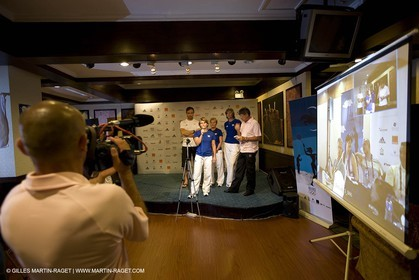 07 08 2008 - Qingdao (CHN) - Olympic games - Sailing - Opening of Club France at Grand Regency hotel and press conference with main press center in Beijing.
