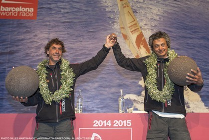 30 03 2015, Barcelona (ESP), Barcelona World Race 2014-15, Neutrogena (Guillermo Altadill, José Muñoz) arrival in 2nd place.