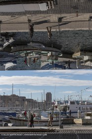 04 02 2013 - Marseille (FRA,13) - Vieux Port (historical port) refit - Works on the shadow maker