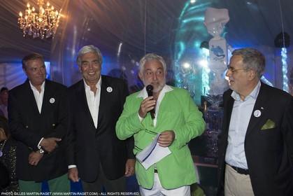 02 10 2015, Saint-Tropez (FRA,83), Voiles de Saint-Tropez 2015, Day 5, Genie of the Lamp 20th birthday celebration at Chateau Saint-Tropez, Charles de Bourbon des Deux Siciles (owner), German Frers, Luca Bassani, Cariboni representative.