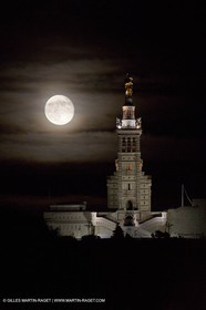 05 06 2012 - Marseille (FRA,13) - Full  moon at Notre Dame de la Garde as seen from Impasse Clerville (7th district)