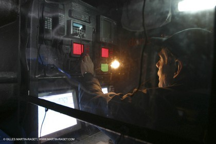 Lorient -Orange II - First sea trials - onboard - at night - Roger Nilson at the navstation