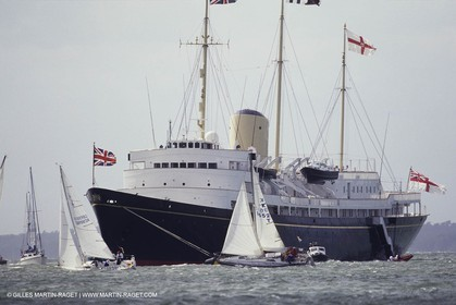 Classic motor yachts - Britannia moored in the Solent off Cowes during the Cowes Week