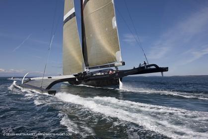 04 09 2008 - Anacortes (WA, USA) - America's Cup - BMW ORACLE Racing - 90 ft trimaran sea trials - Day 3