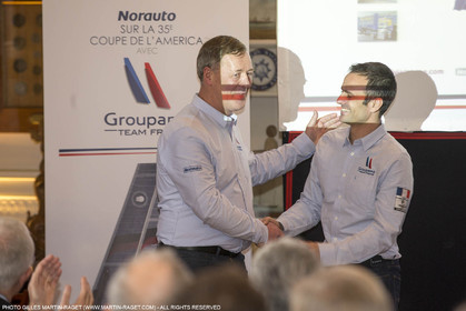 22 02 2016, Paris (FRA), 35th America's Cup, Groupama Team France announces Norauto as official partner at Yacht Club de France, Thibault Derville (Norauto) et Franck Cammas