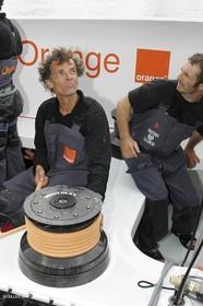 2004 Transatlantic record attempt - Orange II sailing off New York before the start