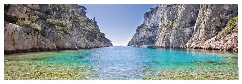 07 05 2009 - Marseille (FRA, 13) - Les Calanques - En VauProduct: in house made quality print on 8 ultrachome colors Epson ink Jet printer.Available sizes: . 20x 60 cm. 33 x 95 cm. 52 x 150 cmAvailable papers:  . Standard 250 gr glossy paper print, black streak, white margin, no signature . Top quality glossy 290 gr. paper, black streak, white margin, checked and signed by the author . Fine Art print (signed, numbered, stamped, registered) on demand . Other supports (Canvas, Acrylic, Metal) on demandPackaging: cylindric reinforced tubeShipping options: regular mail or Shipping companyClick on the basket icon to select your options and start the online ordering process