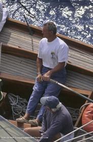 Septembre 1996 - Monaco (MON) - Monaco Classic Week - Eric Tabarly steering Pen duick