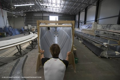 Sydney, Australia, Thomas Coville trimaran Sodebo building at Boat Speed