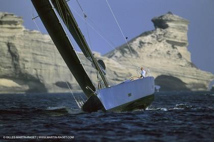 Carerra Wally yacht sailing in Bouches de Bonifaccio (Corsica)