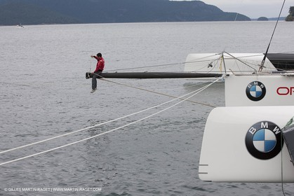 26 08 2008 - Anacortes (WA, USA) - America's Cup - BMW ORACLE Racing - 90 ft trimaran launch - structural tests completed by Design Team