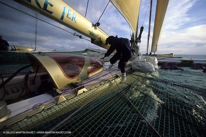 Florence Arthaud winner of the 1900 Route du Rhum on her boat Groupe Pierre 1er