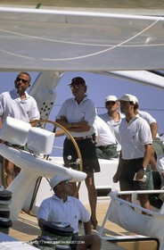 Juan Carlos of Spain, onboard Wallygator, near Lucas Bassani (Wally Yachts)