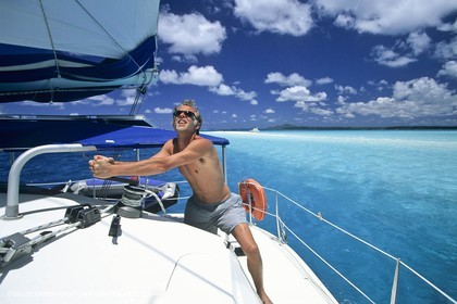 Sailing, cruising, people, only one man
