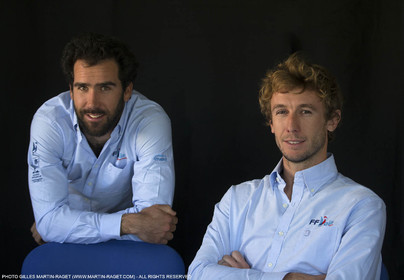 04 03 2016, Marseille (FRA,13), Olympic Sailing, 49er, french representatives Julien D'Ortoli (lright) - Noë Delpech (left)