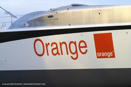Vannes - Multiplast Boatyard - Orange II going out of the shed