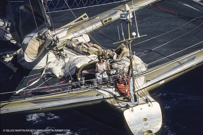 Sailing, Yachts Racing, Offshore Racing, Multihulls, ORMA 60, Route du Rhum 1990 arrrival, Florence Arthaud (Groupe Pierre 1er)
