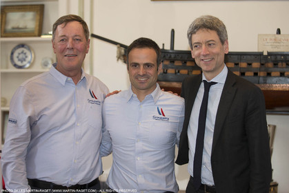 22 02 2016, Paris (FRA), 35th America's Cup, Groupama Team France announces Norauto as official partner at Yacht Club de France,  Thibault Derville (Norauto), Franck Cammas, Sylvain Burel (Dir. Com. Groupama)