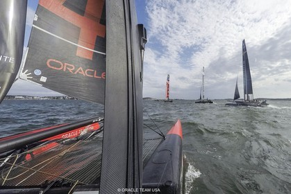 27 08 2015, Göthenburg, (SWE), 35th America's Cup, Louis Vuitton America's Cup World Series Göthenburg 2015, Tech Day, Onboard ORACLE TEAM USA with Joe Newton