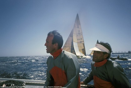 America's Cup, Fremantle 1987, Marc Pajot and Marc Bouet onboard French Kiss