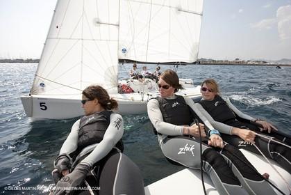 20 04 2010 - Hyères (FRA,83) - SOF 2010 - Zhik Team - women Match Racing - Leroy Pruvot  Bertrand