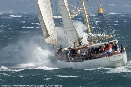 30 09 2015, Saint-Tropez (FRA,83), Voiles de Saint-Tropez, Day 3, Races cancelled, cruising yacht Chronos (55m, Roeder Tutzing design, Ark construction)