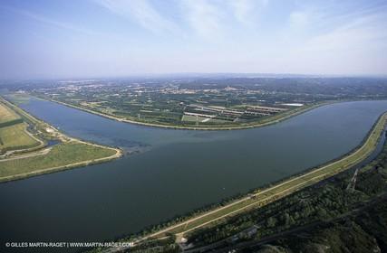 Rhône river when meeting with Durance river near Avignon