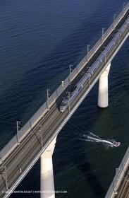Rhône river, High speed train bridge near Avignon
